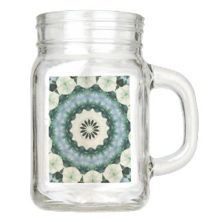 Cerulean Blue and Sacramento Green Mandala Mason Jar