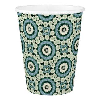 Cerulean Blue and Sacramento Green Mandala Paper Cup