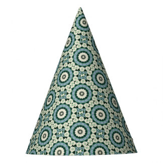 Cerulean Blue and Sacramento Green Mandala Party Hat