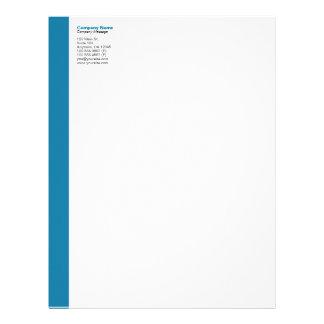 Cerulean Blue Left Sidebar Letterhead