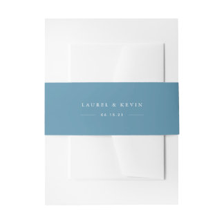 Cerulean Blue Personalized Wedding Invitation Belly Band