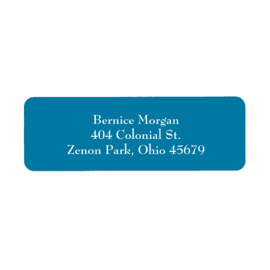Cerulean Blue Simple Plain Return Address Labels