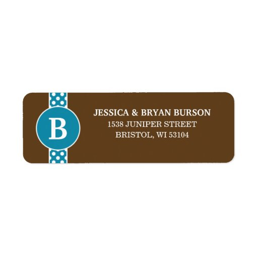 Cerulean Dainty Dots Custom Monogrammed Family Return Address Labels