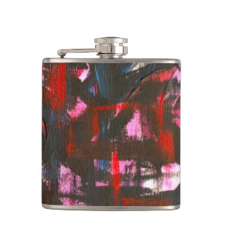 Cerulean Sunset-Hand Painted Abstract Brushstrokes Hip Flask