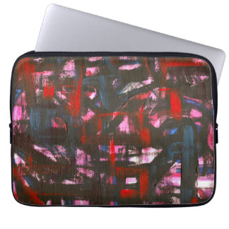 Cerulean Sunset-Hand Painted Abstract Brushstrokes Laptop Sleeve