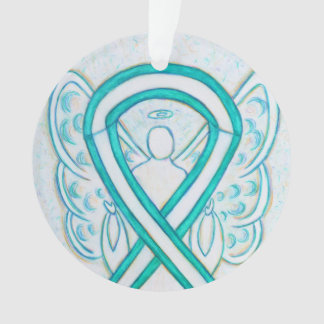 Cervical Cancer Awareness Ribbon Angel Ornaments