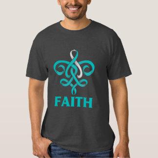Cervical Cancer Faith Fleur de Lis Ribbon T Shirts