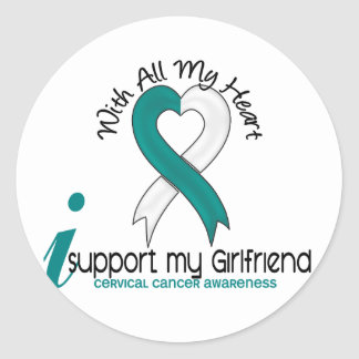 Cervical Cancer I Support My Girlfriend Classic Round Sticker