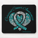 Cervical Cancer Mosaic Heart Ribbon Mouse Pad