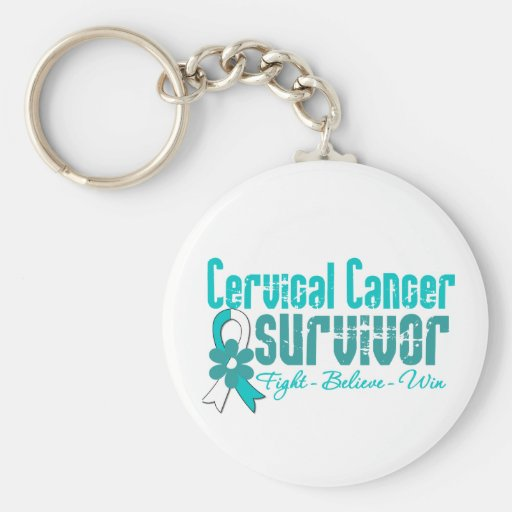 Cervical Cancer Survivor Flower Ribbon Key Chains