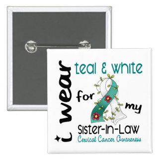 Cervical Cancer Teal & White For My Sister-In-Law 2 Inch Square Button