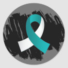 Cervical Cancer Teal White Ribbon With Scribble Classic Round Sticker