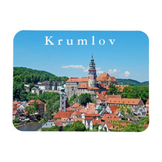 Cesky Krumlov and the castle. Panorama. Magnet