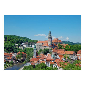 Cesky Krumlov and the castle. Panorama. Poster