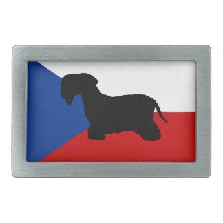 cesky terrier silo czech-republic flag rectangular belt buckle