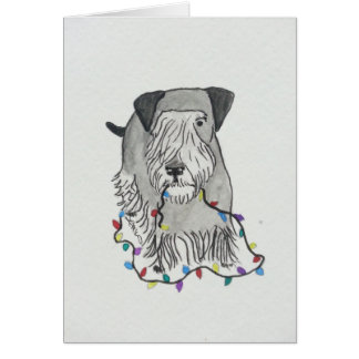 Cesky Terrier with Christmas Lights Card