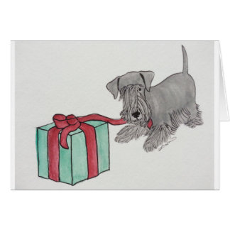 Cesky Terrier with Present Card