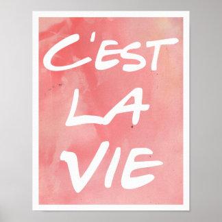C'est La Vie Hand Lettering Poster - Watercolor