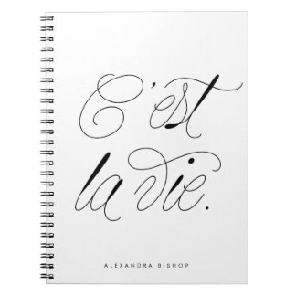 C'est La Vie Modern Script Personalized Notebook