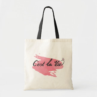C'est La Vie Quote Watercolor Bag
