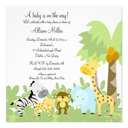 C'est une invitation de baby shower d'Animails de