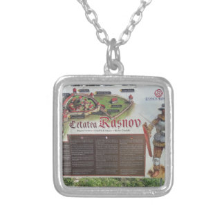 Cetatea Rasnov, Romania. Historic fortress map. Silver Plated Necklace