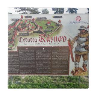 Cetatea Rasnov, Romania. Historic fortress map. Tile