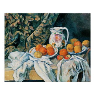 Cezanne Still Life Curtain,Flowered Pitcher,Fruit Perfect Poster