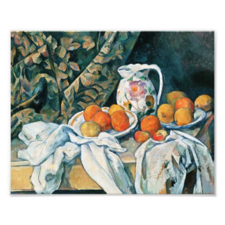 Cezanne Still Life Curtain,Flowered Pitcher,Fruit Photo