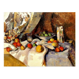 Cezanne - Still Life Post, Bottle, Cup and Fruit Postcard