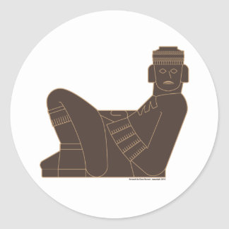 Chac Mool Round Sticker
