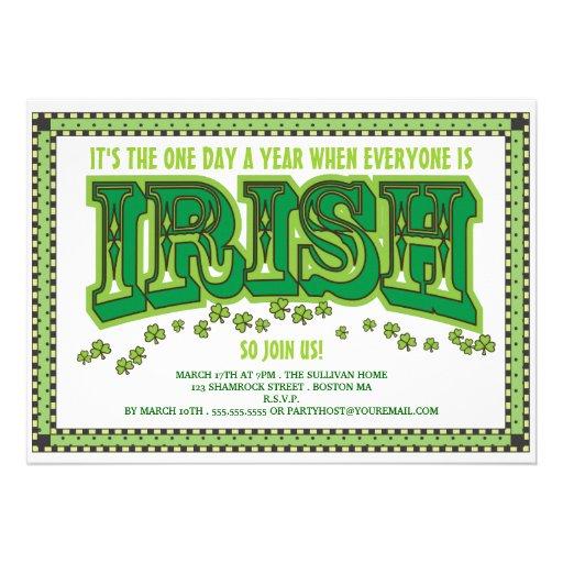 Chacun est partie du jour de St Patrick d'Irlandai Invitation