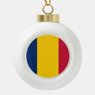 Chad Flag Ceramic Ball Christmas Ornament