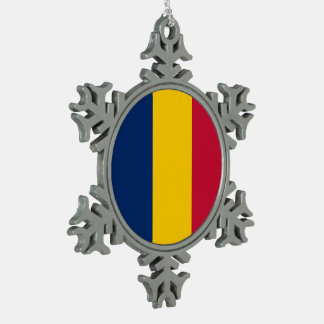 Chad Flag Snowflake Pewter Christmas Ornament