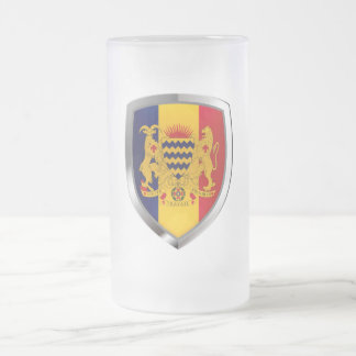 Chad Mettalic Emblem Frosted Glass Beer Mug