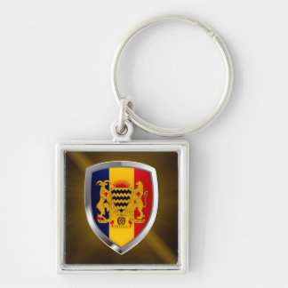 Chad Mettalic Emblem Silver-Colored Square Keychain
