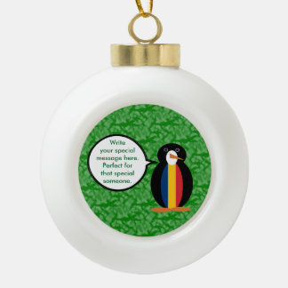 Chadian Holiday Mr. Penguin Ceramic Ball Christmas Ornament