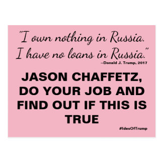 Chaffetz Do Your Job Trump Russia Resistance Postcard