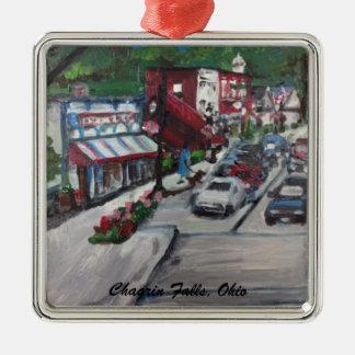 Chagrin Falls Ohio Street Scene Ornamnent Silver-Colored Square Ornament
