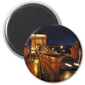 Chain Bridge(Budapest) at Night(1) Magnet
