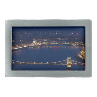 Chain bridge Hungary Budapest at night Belt Buckle