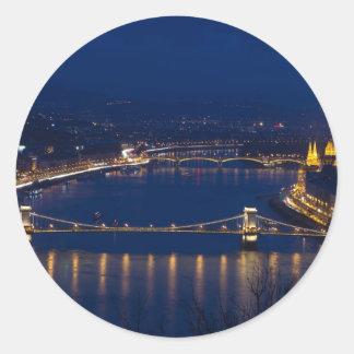 Chain bridge Hungary Budapest at night Classic Round Sticker