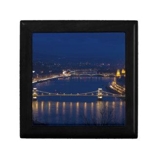 Chain bridge Hungary Budapest at night Gift Box