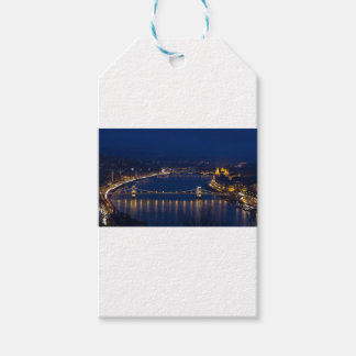 Chain bridge Hungary Budapest at night Gift Tags