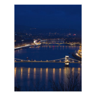 Chain bridge Hungary Budapest at night Letterhead