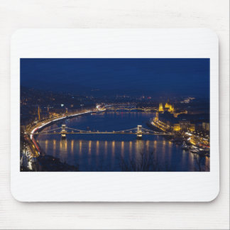 Chain bridge Hungary Budapest at night Mouse Pad