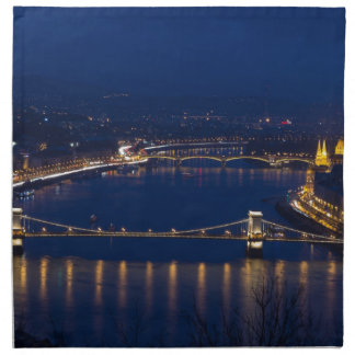 Chain bridge Hungary Budapest at night Napkin