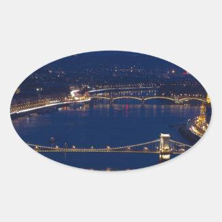 Chain bridge Hungary Budapest at night Oval Sticker