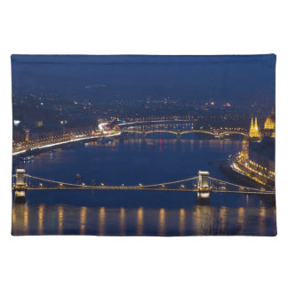 Chain bridge Hungary Budapest at night Place Mat