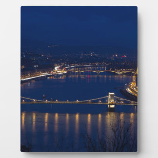 Chain bridge Hungary Budapest at night Plaque